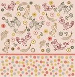 Nahtloses Muster der Kinder mit Blumen und Vögeln Stockfotos