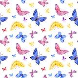 Nahtloses Muster der Kindheit mit netten Schmetterlingen vektor abbildung