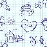 Nahtloses Muster der kindlichen Zeichnung eines Stiftes herein  Stockfotografie
