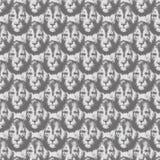 Nahtloses Muster der Löwekopf-Wiederholung in greyscale stockfoto