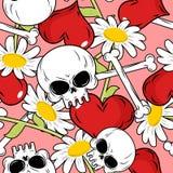 Nahtloses Muster der Liebe und des Todes Rotes Herz und Schädel Hintergrund Stockbild