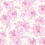 Nahtloses Muster der Lilienblume Stockbild