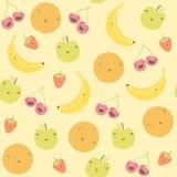 Nahtloses Muster der lustigen Früchte der Karikatur Stockfotos