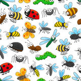 Nahtloses Muster der lustigen Insektenzeichentrickfilm-figuren Stockfotografie