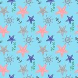 Nahtloses Muster in der Marineart mit Starfishes, Anker und Oberteilen Lizenzfreies Stockfoto