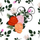 Nahtloses Muster der mehrfarbigen Rosen Lizenzfreie Stockfotos