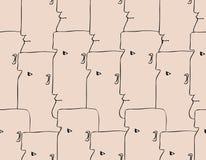 Nahtloses Muster der menschlichen Köpfe Lizenzfreie Stockbilder