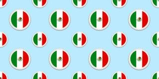 Nahtloses Muster der Mexiko-Rundenflagge Mexikanischer Hintergrund Vektorkreisikonen Geometrische Symbolaufkleber Beschaffenheit  stock abbildung
