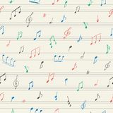 Nahtloses Muster der Musik mit handgeschriebenen musikalischen Anmerkungen Stockfoto