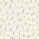 Nahtloses Muster der Musik mit handgeschriebenen musikalischen Anmerkungen Stockbilder