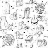 Nahtloses Muster der Nahrungsmittel- und Getränkentwurfsillustration lokalisiert auf weißem Hintergrund vektor abbildung