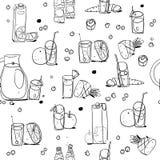 Nahtloses Muster der Nahrungsmittel- und Getränkentwurfsillustration lokalisiert auf weißem Hintergrund lizenzfreie abbildung