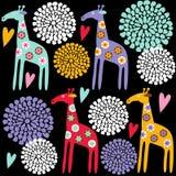 Nahtloses Muster der netten bunten Giraffe mit Blumen, Illustrationshintergrund Stockfotos