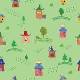 Nahtloses Muster der netten bunten Häuser Auch im corel abgehobenen Betrag Stockbild