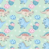 Nahtloses Muster der netten Dinosaurierfamilie stock abbildung