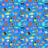 Nahtloses Muster der netten Fischvektor-Illustration Lizenzfreie Stockfotografie