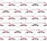 Nahtloses Muster der netten Kaninchen auf weißem Hintergrund Stockbild