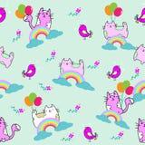 Nahtloses Muster der netten Katze mit Blume auf bunter Hintergrund Vektorillustration Gekritzelkarikaturart Stockfotos