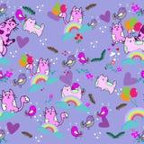 Nahtloses Muster der netten Katze mit Blume auf bunter Hintergrund Vektorillustration Gekritzelkarikaturart Lizenzfreies Stockfoto