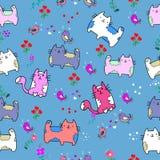 Nahtloses Muster der netten Katze mit Blume auf bunter Hintergrund Vektorillustration Gekritzelkarikaturart Lizenzfreie Stockbilder