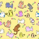 Nahtloses Muster der netten Katze mit Blume auf bunter Hintergrund Vektorillustration Gekritzelkarikaturart Stockfotografie