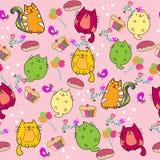 Nahtloses Muster der netten Katze mit Blume auf bunter Hintergrund Vektorillustration Gekritzelkarikaturart Lizenzfreie Stockfotos