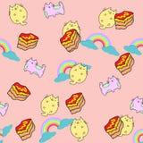 Nahtloses Muster der netten Katze mit Blume auf bunter Hintergrund Vektorillustration Gekritzelkarikaturart Stockbild