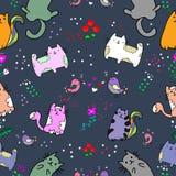 Nahtloses Muster der netten Katze mit Blume auf bunter Hintergrund Vektorillustration Gekritzelkarikaturart Lizenzfreies Stockbild
