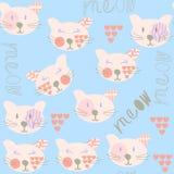 Nahtloses Muster der netten Katzen und nahtloses Muster im Mustermenü, Lizenzfreie Stockbilder