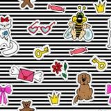 Nahtloses Muster der netten Mode mit Fleckenausweisen Mund, Lippen, Lächeln, Lippenstift, Sprache Lizenzfreie Stockbilder