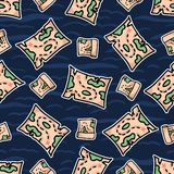 Nahtloses Muster der netten Schatzkartenstreifen-Karikatur Handgezogene Piraten-Kartographiefliese lizenzfreie abbildung