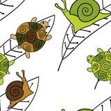 Nahtloses Muster der netten Tiere Tapetenvektorillustration Schnecken und Schildkröten Lizenzfreies Stockfoto