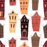 Nahtloses Muster der netten Weinlese mit glücklichen Dorfhäusern und -herren der Karikatur trinkt Tee Stockbilder