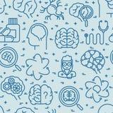 Nahtloses Muster der Neurologie mit dünner Linie Ikonen vektor abbildung