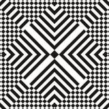 Nahtloses Muster der OPkunst des abstrakten Vektors Einfarbige grafische Schwarzweiss-Verzierung Gestreifte optische Täuschung vektor abbildung