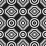 Nahtloses Muster der OPkunst des abstrakten Vektors Einfarbige Plumpskunst-Grafikverzierung Optische Illusion Lizenzfreies Stockbild