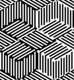 Nahtloses Muster der OPkunst des abstrakten Vektors Pop-Art, grafische Verzierung Optische Illusion lizenzfreie abbildung