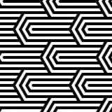 Nahtloses Muster der OPkunst des abstrakten Vektors Schwarzweiss-Pop-Art, grafische Verzierung Optische Illusion stock abbildung