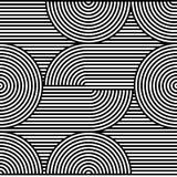 Nahtloses Muster der OPkunst des abstrakten Vektors Schwarzweiss-Pop-Art, grafische Verzierung Optische Illusion lizenzfreie abbildung