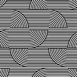 Nahtloses Muster der OPkunst des abstrakten Vektors Schwarzweiss-Pop-Art, grafische Verzierung Optische Illusion vektor abbildung