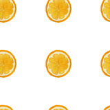 Nahtloses Muster der orange Frucht des Aquarells, Vektorbild Stockfotos