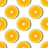 Nahtloses Muster der orange Scheibenfrucht Zitrusfruchtvektorhintergrund Lizenzfreies Stockbild