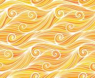Nahtloses Muster der orange Wellen des Vektors gelockten Stockfoto