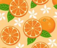 Nahtloses Muster der Orangen Zitrusfrucht- und Fruchtkarikaturen, grüne Blätter und Blumen stock abbildung