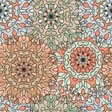 Nahtloses Muster in der orientalischen Art, farbiges Packpapier mit blumiger Mandalaverzierung Türkisch, arabisch, indisch Stockbilder