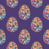 Nahtloses Muster der Ostereier Handgezogener abstrakter Frühlings-Feiertagshintergrund in der modernen Art für Oberflächenentwurf lizenzfreies stockbild