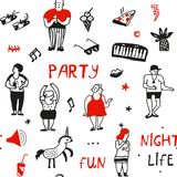 Nahtloses Muster der Partei in der Gekritzelart, Vektorillustration Stockfoto