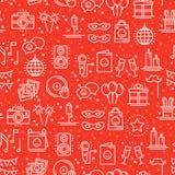 Nahtloses Muster der Parteifeier Geburtstag, Feiertage, Ereignis, Karneval festlich Parteidekorelemente verdünnen Ikonen lustig vektor abbildung