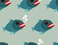 Nahtloses Muster der Piranha Toothy Fischhintergrund Terribl Stockbild