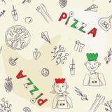 Nahtloses Muster der Pizza - Hand gezeichnetes Retro- Stockbilder